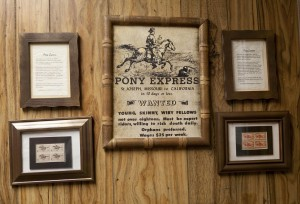 An homage to the Pony Express hangs in the Fox, AR Post Office.