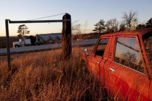 Junk cars at the edge of town in Witts Springs, AR.