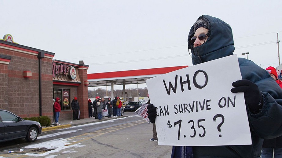 The fast food worker strikes have awaken a discussion about the minimum wage across the country.  On Dec. 5, workers and their supporters did strike actions at a Wendy's and other fast food restaurants in the Kansas City, MO area.